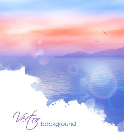 Sea vector watercolor background calm and clear. Marine landscape Vettoriali