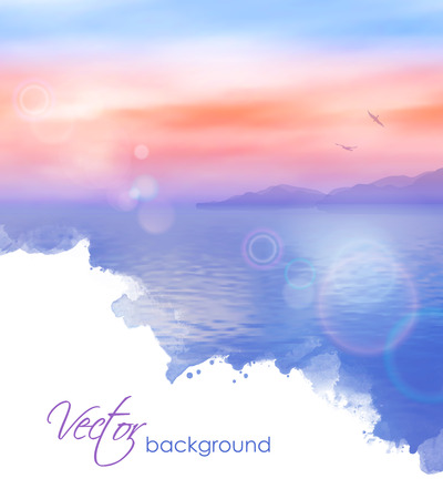 bird of paradise: Sea vector watercolor background calm and clear. Marine landscape Illustration