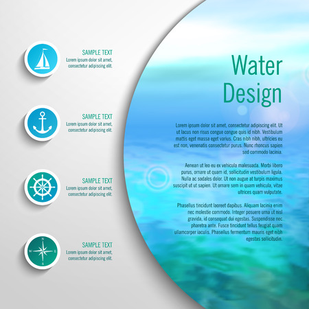 Vector marine template with infographic elements. Blurred sea background with icons, buttons Ilustração