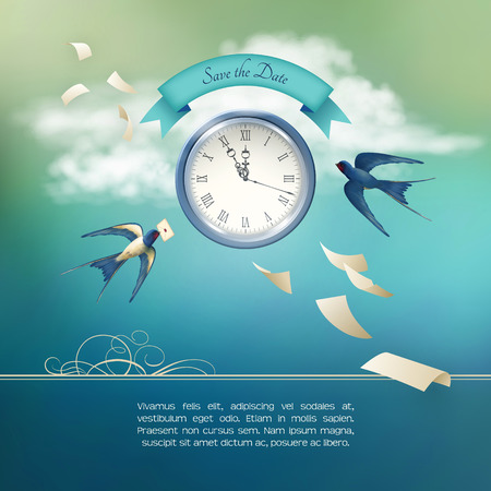 Save the Date concept design vector background. Free flying bird swallow in the sky, white clouds, antique clock, flying paper sheets, ribbon banner, abstract decoration