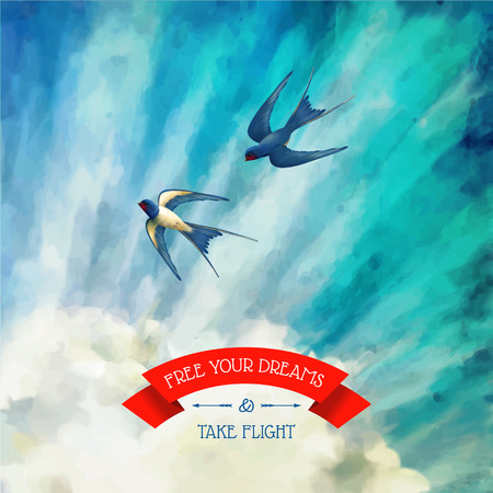 Free your Dreams and Take Flight quote. Blue sky vector artistic background with white fluffy clouds, flying swallows