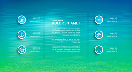 Vector marine template with infographic elements. Blurred sea background with icons, buttons Illustration