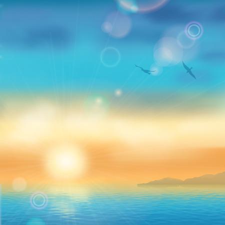 paesaggio mare: Tramonto paesaggio marino balneare. Mare vettore