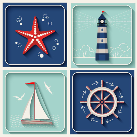 nautical vessel: Vector marine theme icons. Nautical travel symbol flat and shadow design set