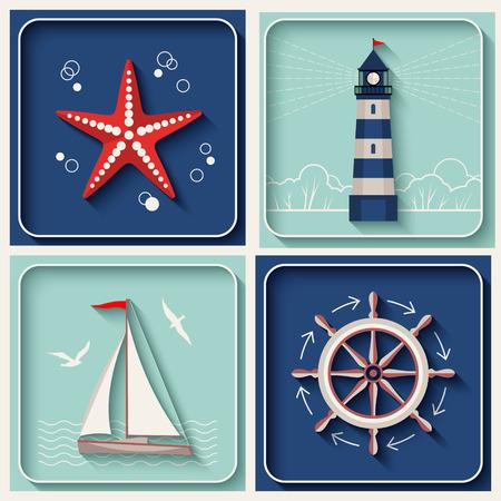 Vector marine theme icons. Nautical travel symbol flat and shadow design set