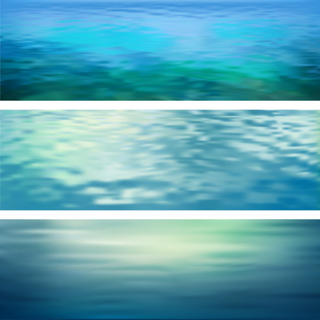 marine environment: Blurry vector abstract water ripple banners. Marine panoramic landscape