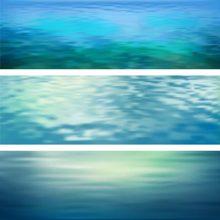 agua: Vector borrosa ondulación del agua abstracta pancartas. Marina paisaje panorámico