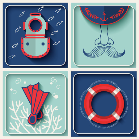 skipper: Vector marine theme icons. Nautical travel symbol flat and shadow design set