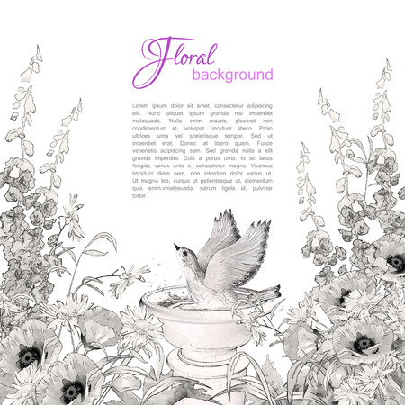 Vector floral background. Pencil or ink sketch drawing flowers, bird in bath Illustration
