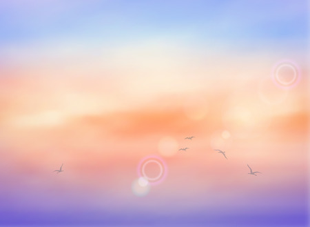 Vector illustration of clouds in a sunrise sky with birds