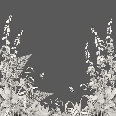 meadows: Vector floral summer background. Hand drawn sketch meadow with grass, flowers, bee