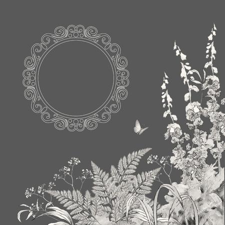 borde de flores: Fondo floral del vector verano. Dibujado a mano prado boceto con césped, flores, mariposa