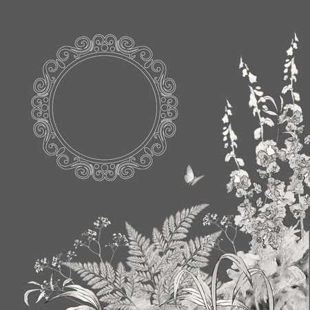 flower borders: Vector floral summer background. Hand drawn sketch meadow with grass, flowers, butterfly