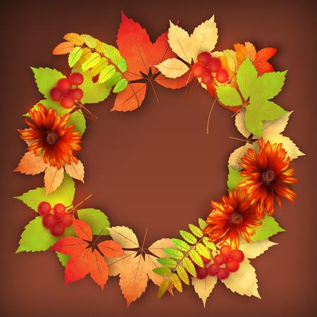 Vector autumn decorative round frame with dahlia flowers, rowan berry and maple fall leaves Vector