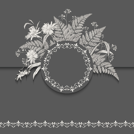 Vector floral romantic wedding card. Hand drawn sketch meadow with grass, flowers, ornamental round frame