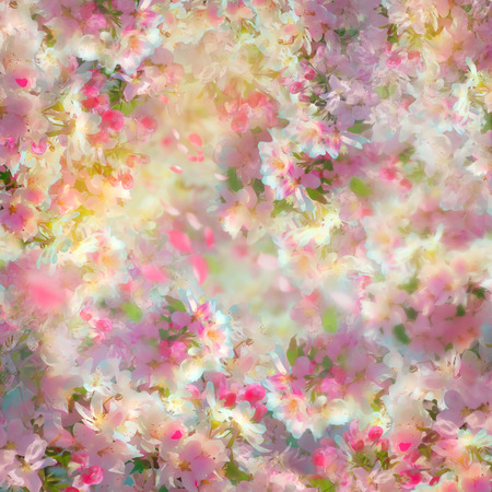 Spring cherry blossom background. Flower papercraft texture illustration