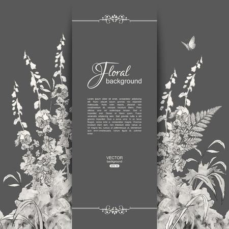 Vector bloemen romantische kaart. Hand getrokken schets weide met gras, bloemen, vlinder Stock Illustratie