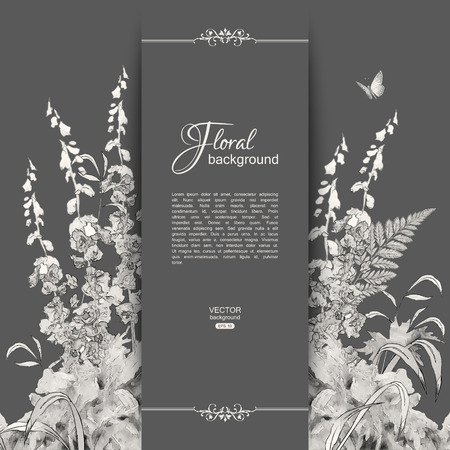 butterfly in hand: Vector floral romantic card. Hand drawn sketch meadow with grass, flowers, butterfly