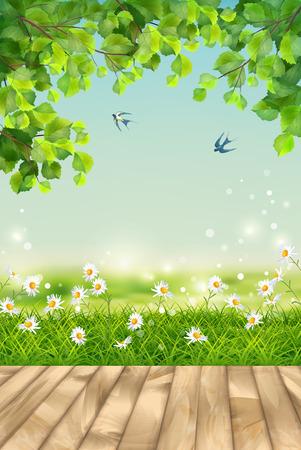 Vector summer landscape with grass, flowers, tree branches, bird, textured wooden floor Stock Illustratie
