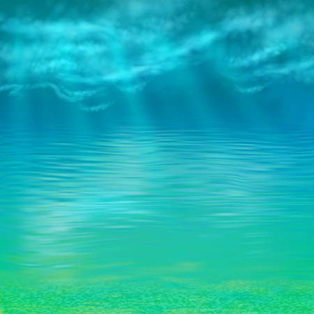 at the bottom of: Abstract vector under water background lighted by the sun