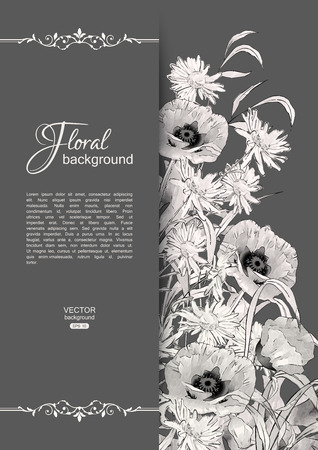 Vector floral romantic card. Hand drawn sketch meadow with grass, flowers