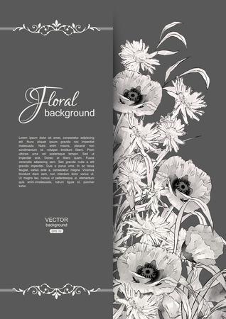 Vector bloemen romantische kaart. Hand getrokken schets weide met gras, bloemen