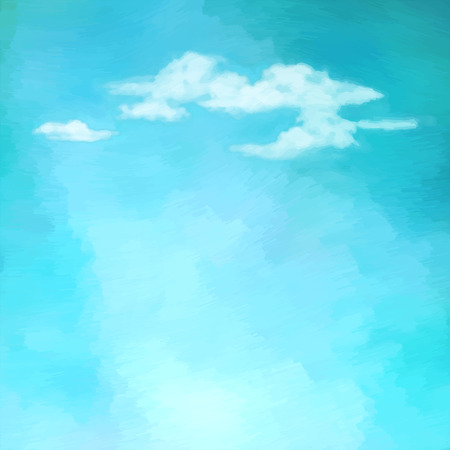 Blue oil painting sky with clouds. Abstract artistic vector background