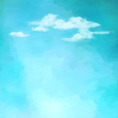 Blauwe olieverfschilderij lucht met wolken. Abstract artistieke achtergrond vector Stock Illustratie
