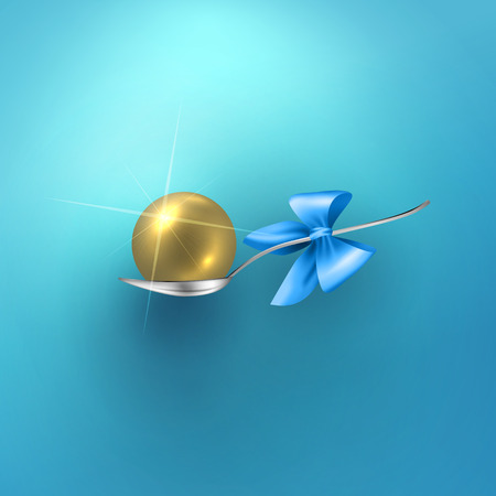 prize winner: Glossy vector gold sphere in spoon and bow. Gift, luck or winner prize concept design