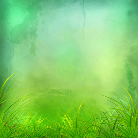 expressive: Decorative vector grunge watercolor background with grass and expressive painting texture