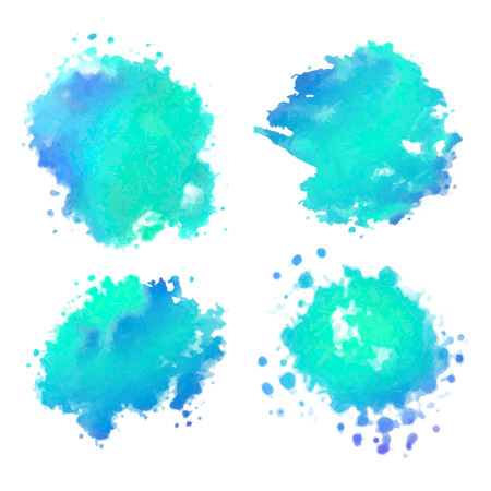 Set of watercolor colorful painted vector stains
