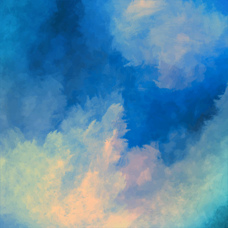 sunset clouds: Dramatic sky vector digital watercolor painting background Illustration