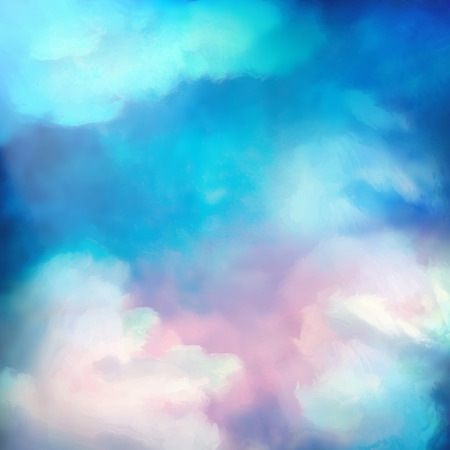 Dramatic sky vector digital watercolor painting background Ilustração