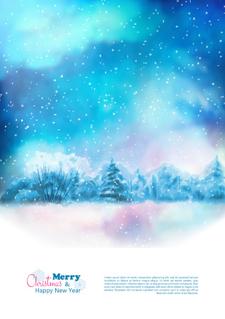 Vector watercolor winter Christmas flyer with night landscape, snow-covered forest Vettoriali