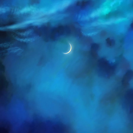 nightly: Vector nightly dramatic blue landscape with cumulus clouds and moon Illustration