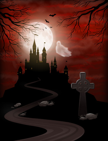 Halloween Party Invitation with castle silhouette on the hill against moonlight sky, flying Ghost, gravestone Иллюстрация