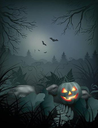 tree silhouettes: Halloween vector night scene with pumpkin, stones and fern Illustration