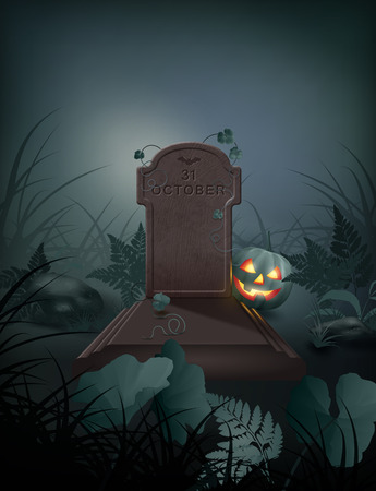 fairytale background: Halloween vector night scene with grave, pumpkin, stones and fern