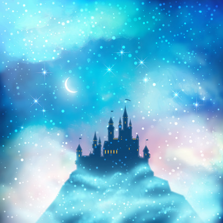 moonlight: Christmas winter vector castle silhouette on the hill