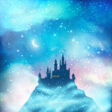 castillo medieval: Navidad invierno vector silueta del castillo en la colina