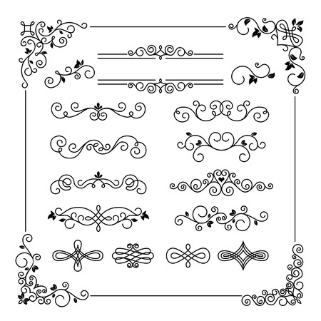 line art: Set of vintage vector frame border divider corner. Calligraphic decorative elements Illustration