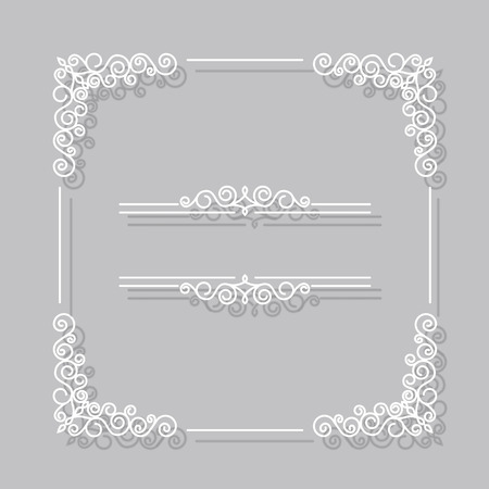 line art: Frame vector vintage white border with shadows. Line art style frame Illustration