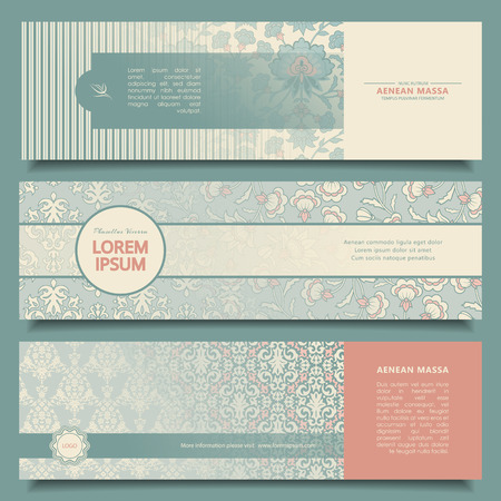 Set of vintage abstract banners with decorative ornament. Corporate vector templates  イラスト・ベクター素材