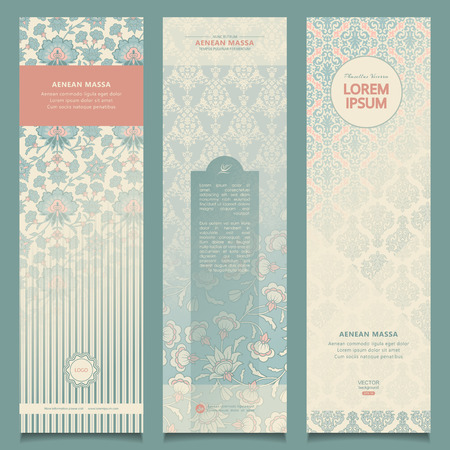 retro floral: Set of vintage abstract banners with decorative ornament. Corporate vector templates Illustration
