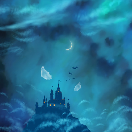 Halloween Vector Nightly Background with castle silhouette on the hill against moonlight sky, flying Ghost, bat