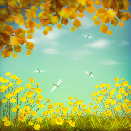 yellow landscape: Autumn artistic landscape field drawing with yellow flowers, branches, leaves, dragonfly