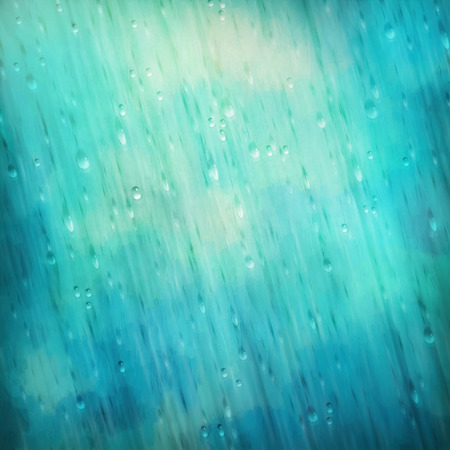 rain drops: Colorful blue rain. Water, rain drops, blurred lights on the textured background Stock Photo