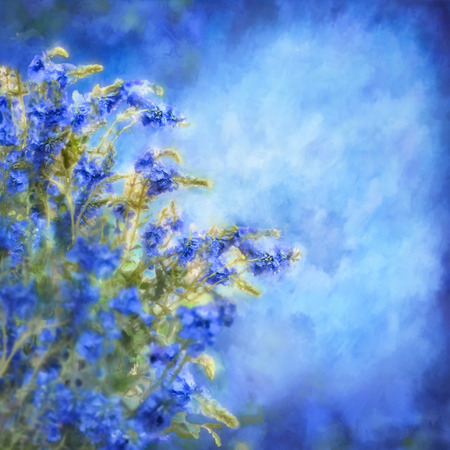 watercolour painting: Romantic watercolor illustration with blue flowers on background with painting texture