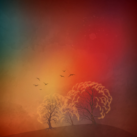 dramatic sky: Vector art autumn landscape as watercolor painting. Grunge picture showing trees, dramatic sky, flying migratory birds