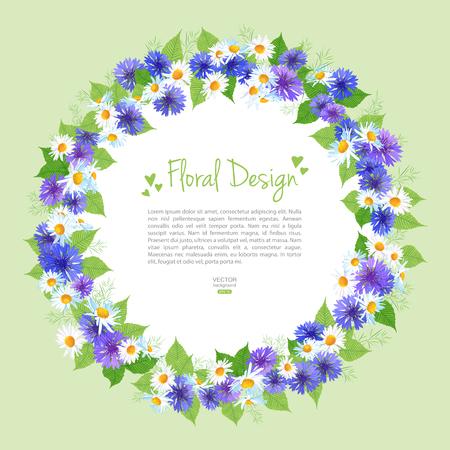 fiori di campo: Corona dei fiori vettore carta con fiori di campo. Composizione floreale cerchio telaio può essere utilizzato come biglietto di auguri, biglietto d'invito per il matrimonio, compleanno e altre disegno festa Vettoriali